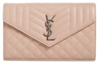 Women's Saint Laurent 'Large Kate' Quilted Calfskin Leather Wallet On A Chain - Beige $1,550 thestylecure.com