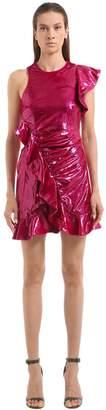 Self-Portrait Ruffled Metallic Velvet Mini Dress