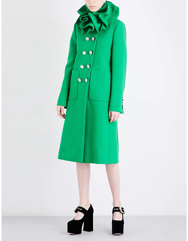 Gucci Frilled-collar wool coat