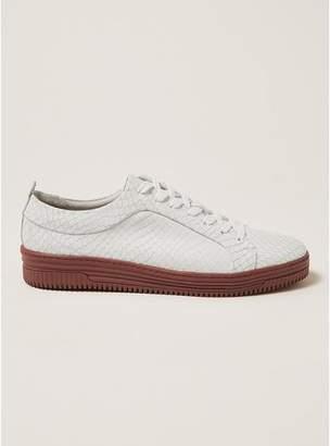 Topman Mens White Leather Croc Drape Sneakers