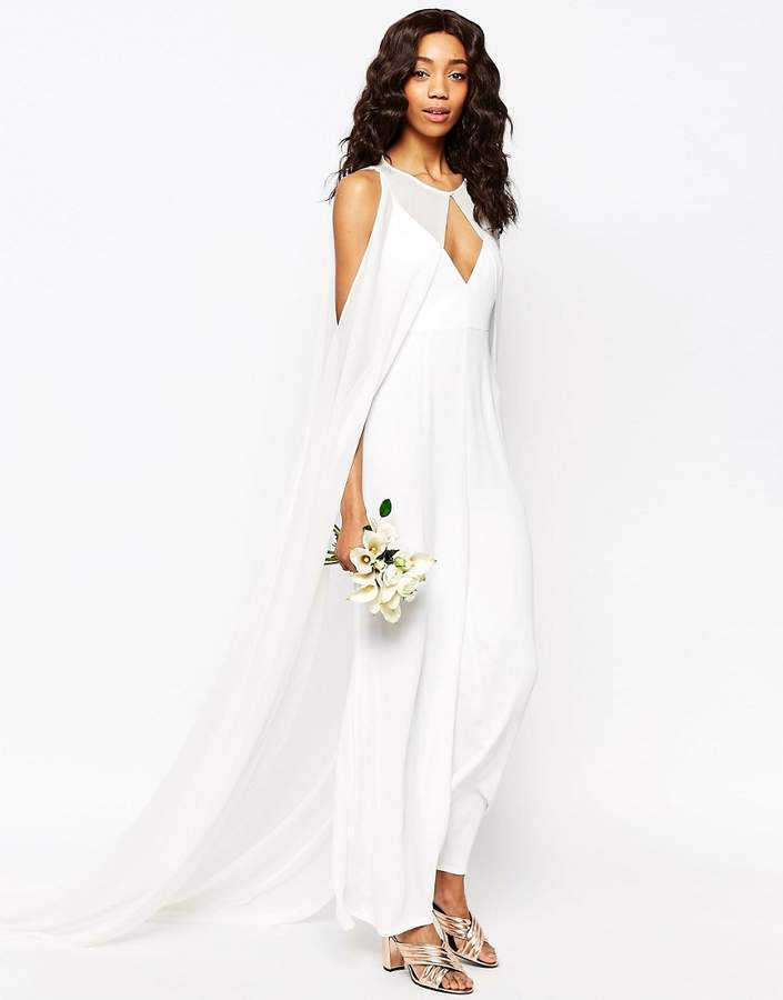 ASOS COLLECTION ASOS Bridal Jumpsuit with Detachable Cape