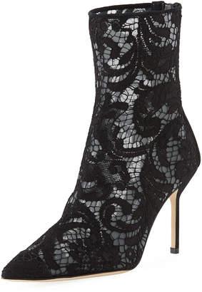 Manolo Blahnik Zarinanu High-Heel Lace Booties