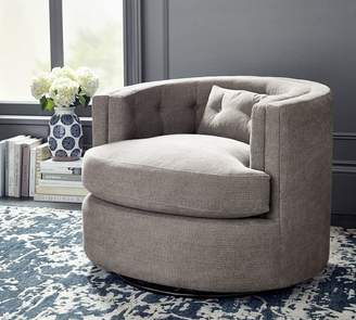 Pottery Barn Reed Upholstered Swivel Armchair