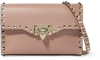 Valentino Garavani The Rockstud Leather Shoulder Bag - Beige