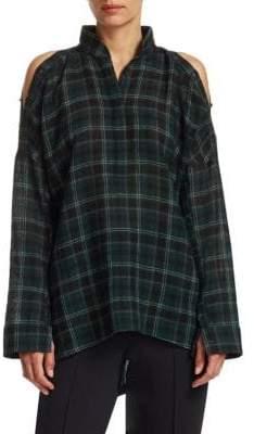 Akris Punto Flannel Wool Cold-Shoulder Blouse
