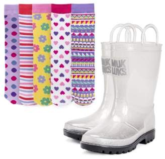 Muk Luks Molly Toddler & Youth Rain Boot & Sock Set