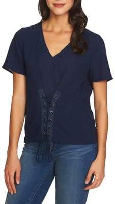 1 STATE 1.STATE Short-Sleeve Lace-Up Blouse