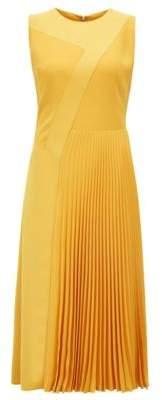 BOSS Hugo Patchwork midi dress in crepe plisse skirt detail 2 Yellow