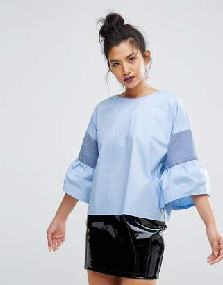 Ziztar You Are Unique Top With Fluted Sleeves