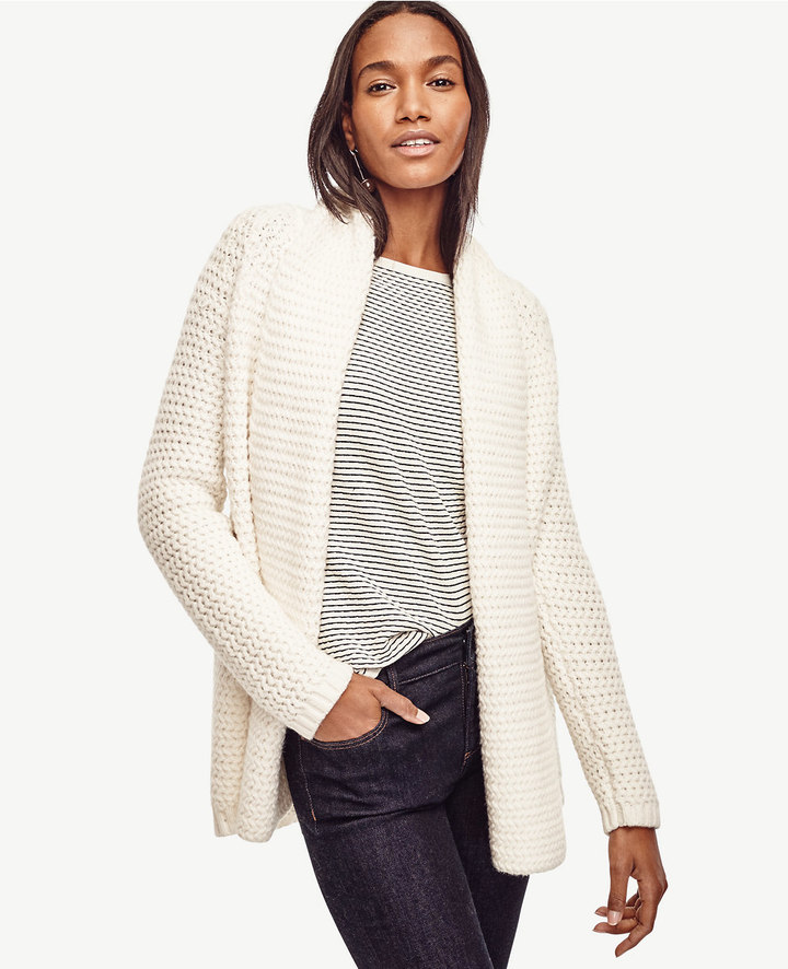Ann Taylor Mixed Stitch Open Cardigan