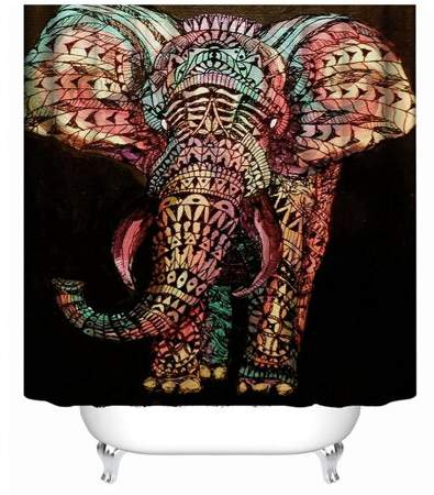 Betruststores Antibacterial Waterproof Polyester Mildewproof Shower Curtain 3D Elephant Print Art Design Bathroom Individuality Decoration