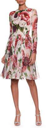 Dolce & Gabbana Long-Sleeve Rose & Peony Print Fit-and-Flare Chiffon Dress