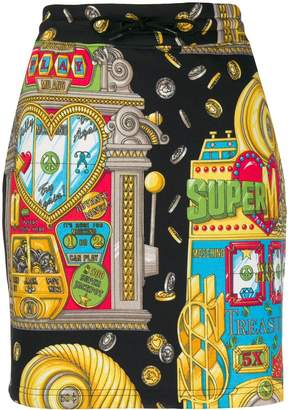 Moschino casino printed mini skirt