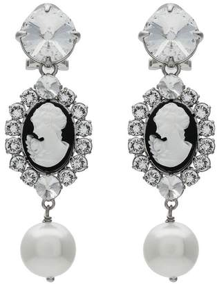 Miu Miu metallic cameo crystal faux pearl earrings