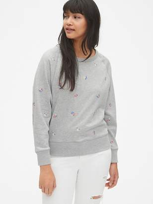 Gap Vintage Soft Embroidered Raglan Pullover Sweatshirt