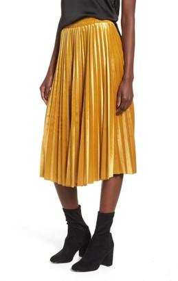 Women's Chelsea28 Pleated Velvet Skirt $79 thestylecure.com