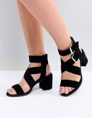 Office Miles Black Suede Buckle Block Heeled Sandals