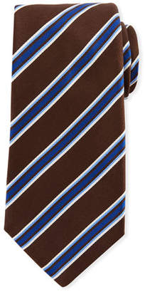 Kiton Framed Satin Stripe Tie, Brown
