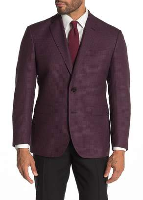 Ted Baker Jarrow Red Houndstooth Two Button Notch Lapel Wool Slim Fit Sport Jacket Suit Separate