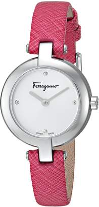Salvatore Ferragamo Women's 'FERRAGAMO MINIATURE' Swiss Quartz Stainless Steel and Leather Casual Watch, Color Pink (Model: FAT010017)