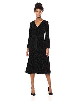 Calvin Klein Women's Long Sleeve Faux Wrap Velvet Midi Dress
