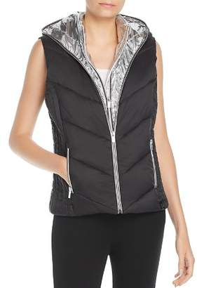 Andrew Marc Layered Front Hooded Puffer Vest