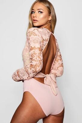 boohoo Lace Open Back Bodysuit