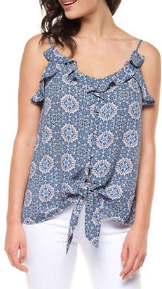 Dex Button Front Ruffled Top