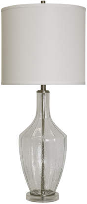 Stylecraft Style Craft 37In Seeded Glass & Brushed Steel Base Table Lamp