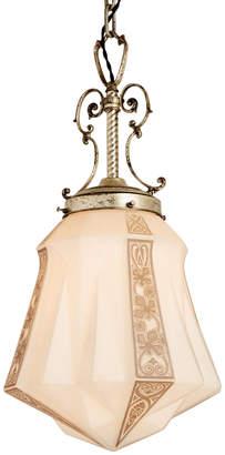 Rejuvenation Immense Art Deco Pendant w/ Silver-Plated Fixture