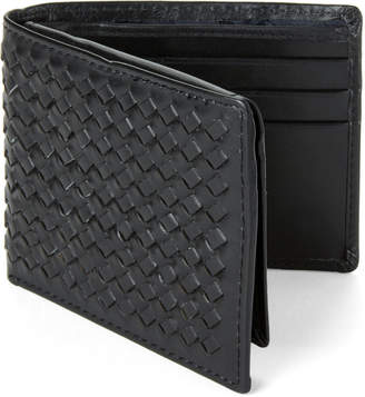 Joe's Jeans Black Basketweave Leather Passcase Wallet