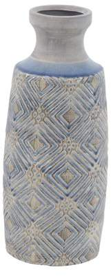 DecMode Decmode 16 Inch Traditional Ceramic Cylindrical Antique Vase, Gray