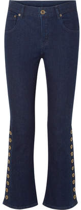 Chloé Button-detailed Mid-rise Flared Jeans - Dark denim