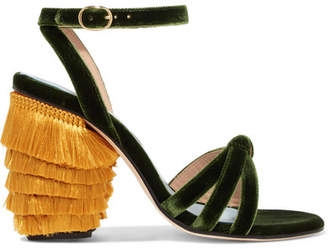 3c4f278e7d9 MR by Man Repeller - Jingling Fringed Velvet Sandals - Dark green