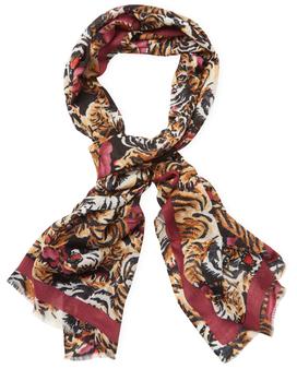 "KenzoFlying Tigers Wool Long Scarf, 66"" x 52"""