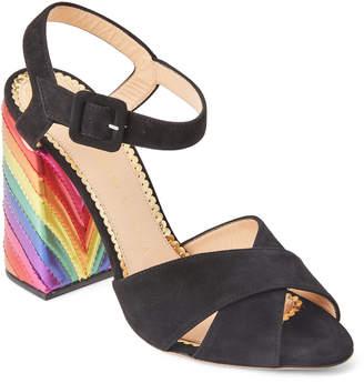 Charlotte Olympia Black Emma Rainbow Block Heel Sandals