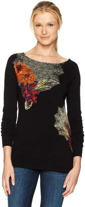 Desigual Women's Aneta Woman Flat Knitted Thin Gauge Pullover, Black