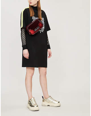 Kenzo Tiger-embroidered crepe dress