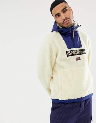Napapijri Teide borg hoodie in off white