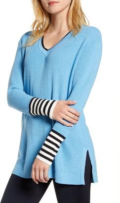 Vince Camuto V-Neck Stripe Cuff Sweater