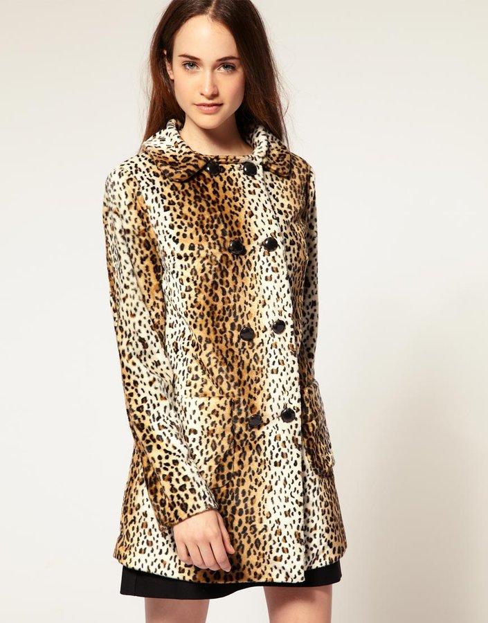 River Island Faux Fur Leopard Print Coat