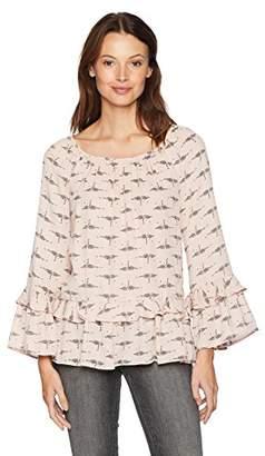 Ella Moon Women's Standard Long Sleeve Tiered Ruffle Blouse