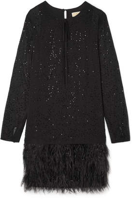 MICHAEL Michael Kors Crystal And Feather-embellished Chiffon Mini Dress