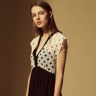 Sandro Mid-length dress with floral lace inset