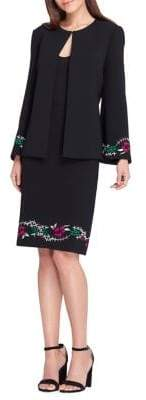 Tahari Arthur S. Levine Embroidered Floral Bell Jacket and Skirt Suit