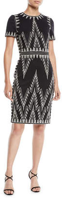 Tadashi Shoji Short-Sleeve Chevron-Embroidered Cocktail Dress