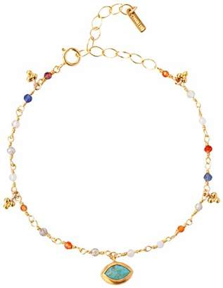 Chan Luu Gold Plated Mix Marquise Charm Adjustable Bracelet