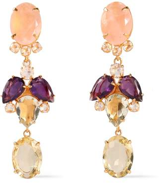 Bounkit 14-karat Gold-plated, Quartz And Amethyst Earrings