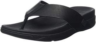 FitFlop Men's Surfer Perf Leather Open Toe Sandals, (Black), 45 EU