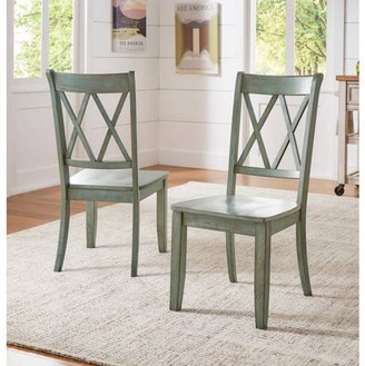 Generic Weston Home Farmhouse Dining Chair with Cross Back (Set of 2)